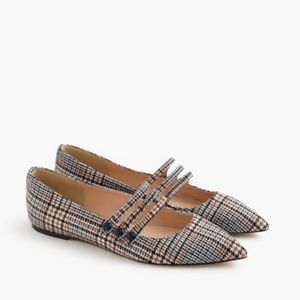 J.Crew Strappy  Houndstooth Tweed Pointe Toe Flats